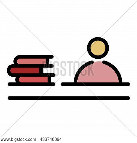 Man Book Stack Icon. Outline Man Book Stack Vector Icon Color Flat Isolated
