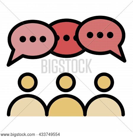 People Group Discussion Icon. Outline People Group Discussion Vector Icon Color Flat Isolated