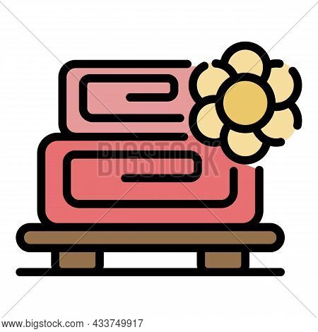 Massage Roll Towel Icon. Outline Massage Roll Towel Vector Icon Color Flat Isolated