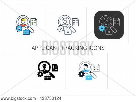 Applicant Tracking Icons Set.software App Automates Hiring Process. Candidate Management System. Tal