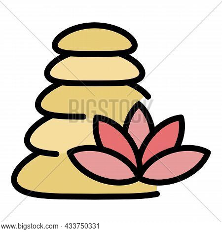 Stone Stack Massage Icon. Outline Stone Stack Massage Vector Icon Color Flat Isolated