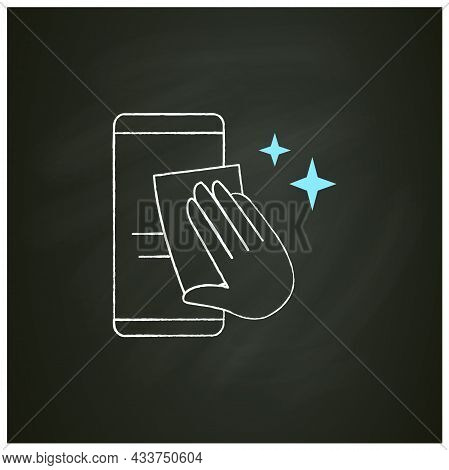 Smartphone Disinfection Chalk Icon. Wiping Mobile Phone Display With Cleaning Cloth. Hygiene And Cov