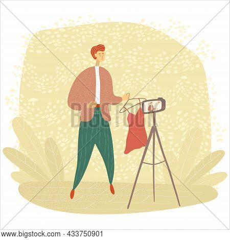Male Blogger Records A Video. Fashion Blogger Shoots Vlog For Followers. Influencer Makes Content Fo