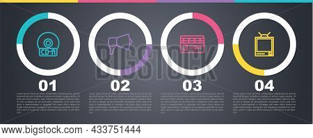 Set Line Cd Or Dvd Disk, Megaphone, Movie Clapper And Retro Tv. Business Infographic Template. Vecto