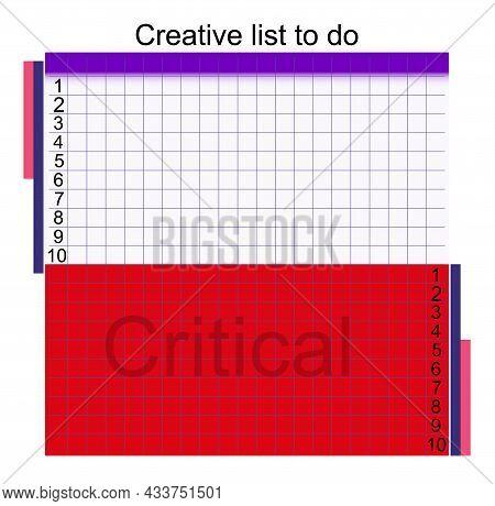 Creative List To Do Memo Schedule Design Vector Illustration. Memo, Planner, Goals, Reminder, Quick
