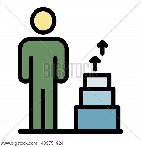 Grow Up Education Icon. Outline Grow Up Education Vector Icon Color Flat Isolated