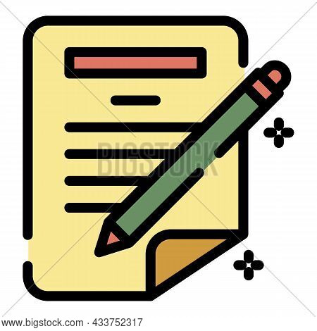 Pen Writing Paper Icon. Outline Pen Writing Paper Vector Icon Color Flat Isolated