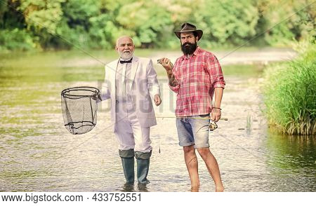 Men Friends Relaxing River Background. Personal Instructor. Bearded Man Elegant Businessman Fish Tog