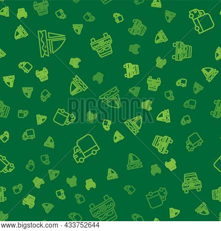 Set Line Yacht Sailboat, Delivery Cargo Truck And Car On Seamless Pattern. Vector