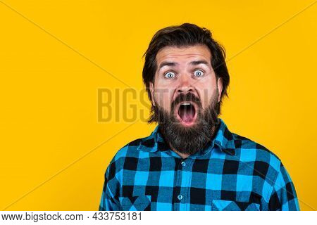 Expressing Pure Surprise. Casual Fashion Style. Modern Looking Bearded Hipster. Hairdresser Concept.