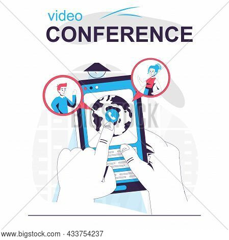 Video Conference Isolated Cartoon Concept. User Makes Online Video Call In Mobile App, People Scene