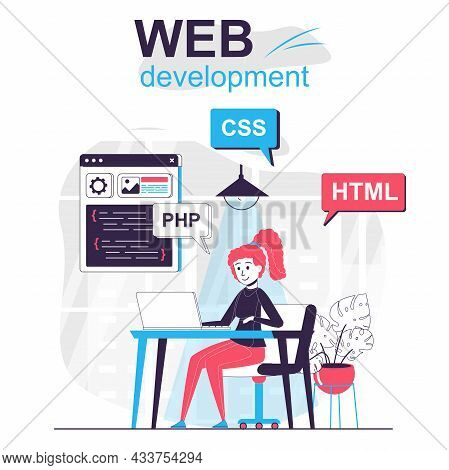 Web Development Isolated Cartoon Concept. Developer Programs In Html Language In Office, People Scen