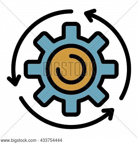 Assembly Gear Wheel Icon. Outline Assembly Gear Wheel Vector Icon Color Flat Isolated