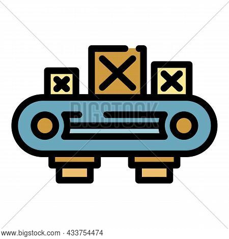 Assembly Wood Box Line Icon. Outline Assembly Wood Box Line Vector Icon Color Flat Isolated