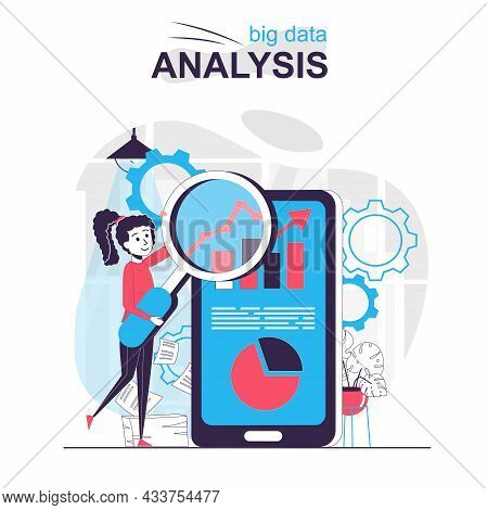 Big Data Analysis Isolated Cartoon Concept. Woman Analyzes Business Statistics In Mobile App, People