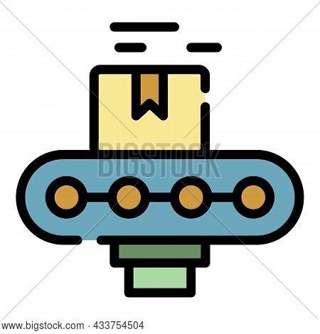 Carton Box Assembly Line Icon. Outline Carton Box Assembly Line Vector Icon Color Flat Isolated
