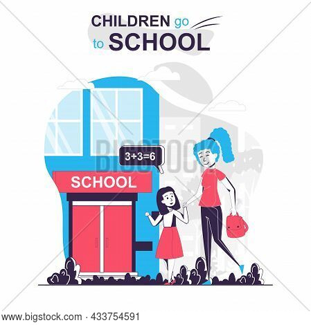 Children Go To School Isolated Cartoon Concept. Mother And Daughter Go To School In Morning, People