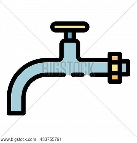 Metal Tap Icon. Outline Metal Tap Vector Icon Color Flat Isolated