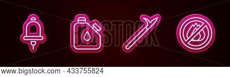 Set Line Ringing Alarm Bell, Canister Fuel, Metal Pike Pole And No Fire. Glowing Neon Icon. Vector