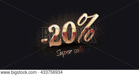 20 Percent Salling Background With Golden Shiny Numbers On Black. Super Sale Text. Black Friday Or N