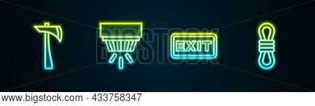 Set Line Firefighter Axe, Smoke Alarm System, Exit And Climber Rope. Glowing Neon Icon. Vector