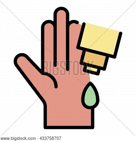 Hand Cream Sanitation Icon. Outline Hand Cream Sanitation Vector Icon Color Flat Isolated