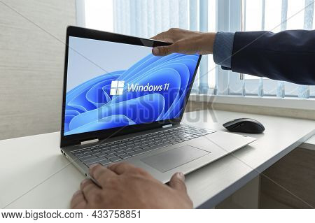 June 23, 2021. Barnaul, Russia. Windows 11 Logo On Laptop Screen. A New Operating System Update From