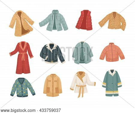 Vector Set Of Vinter Clothes. Different Types Of Coats And Jackets.