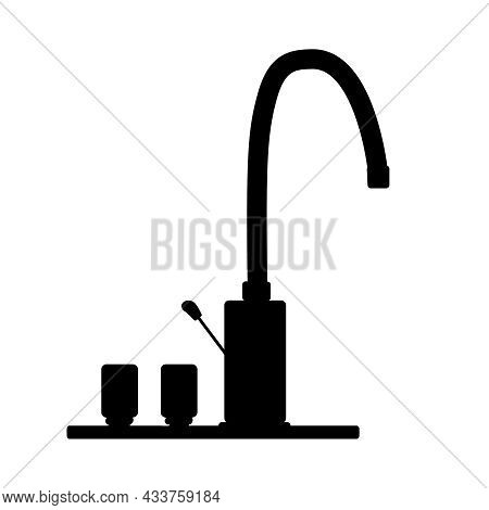 Faucet Filter Icon Isolated On White Background. Tap With Knob Simple Sign. Watertap Silhouette. Plu