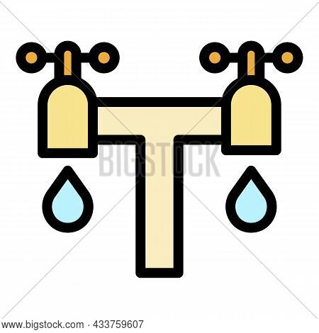 Double Water Tap Icon. Outline Double Water Tap Vector Icon Color Flat Isolated