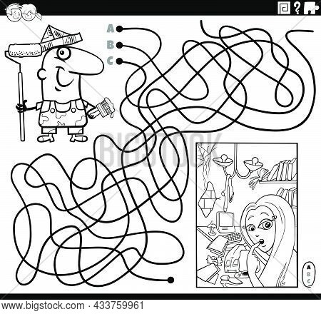 Black And White Cartoon Illustration Of Lines Maze Puzzle Game With Painter Character And Apartment