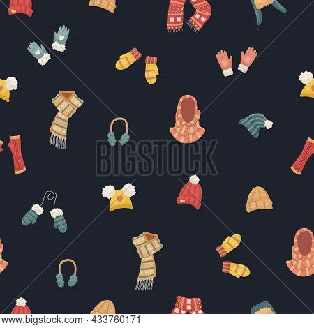 Vector Seamless Pattern With Winter Hats. Hat, Snood, Headphones, Gloves, Mittens, Blowjobs.