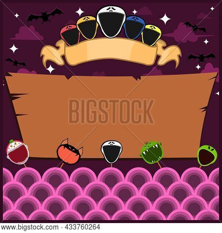 Halloween Greeting Card With Masks Monster. Blank Scream Label . At Night And Blank Wood Mockup. Vec
