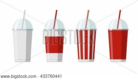 Disposable Paper Beverage Cup Templates Set For Soda Or Cocktail With Transparent Hemisphere Lid. Bl