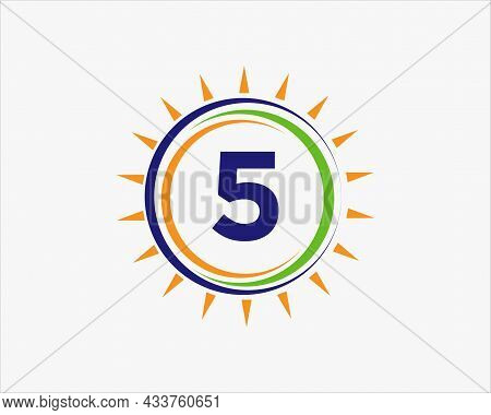 Sun Solar Energy Logo On Letter 5 Template. 5 Letter Solar Logo Design. Solar Panel Farm Electric Fa