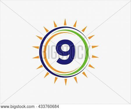 Sun Solar Energy Logo On Letter 9 Template. 9 Letter Solar Logo Design. Solar Panel Farm Electric Fa