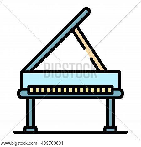 Open Grand Piano Icon. Outline Open Grand Piano Vector Icon Color Flat Isolated