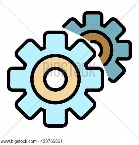 Gear Mechanism Icon. Outline Gear Mechanism Vector Icon Color Flat Isolated
