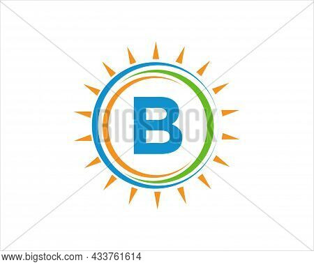 Sun Solar Energy Logo On Letter B Template. B Letter Solar Logo Design. Solar Panel Farm Electric Fa