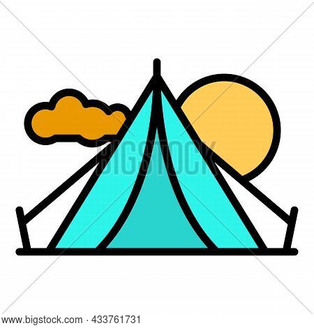 Camping Tent Icon. Outline Camping Tent Vector Icon Color Flat Isolated