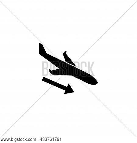 Airplane Landing, Plane Flying Down. Flat Vector Icon Illustration. Simple Black Symbol On White Bac