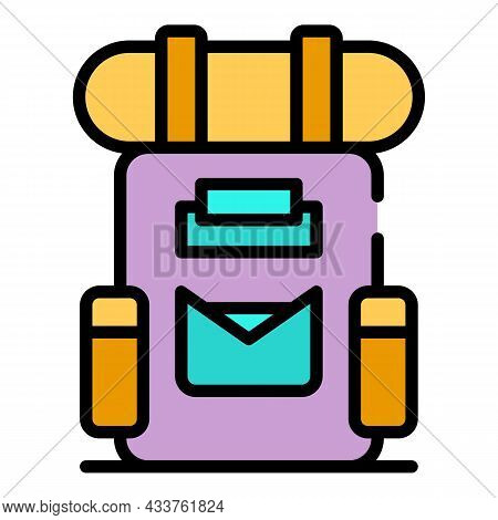 Tourist Backpack Icon. Outline Tourist Backpack Vector Icon Color Flat Isolated