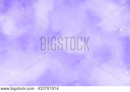 Purple Or Violet Abstract Watercolor Background. Snowfall On A Cold Blue Winter Background. Hand Pai