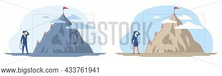Set With Male And Female Characters In Front Of Growth Direction As Mountain Climbing. Concept Of Ca