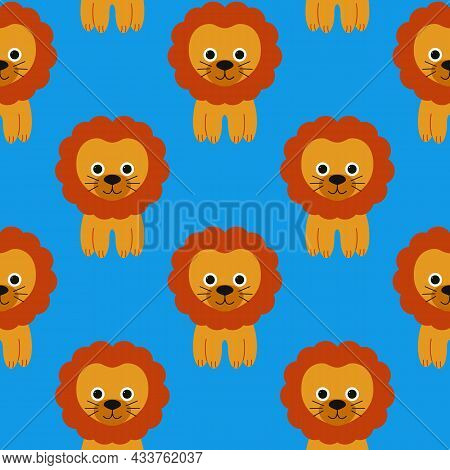 Drawn Vector Pattern Of Cute Funny Lion. Isolated Objects. Can Be Used For Printing On T-shirts, Chi