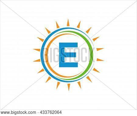 Sun Solar Energy Logo On Letter E Template. E Letter Solar Logo Design. Solar Panel Farm Electric Fa