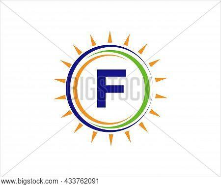 Sun Solar Energy Logo On Letter F Template. F Letter Solar Logo Design. Solar Panel Farm Electric Fa