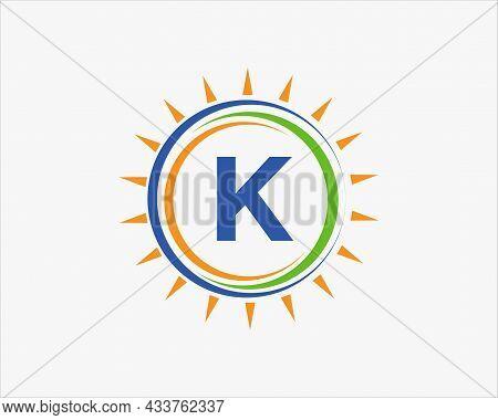 Sun Solar Energy Logo On Letter K Template. K Letter Solar Logo Design. Solar Panel Farm Electric Fa