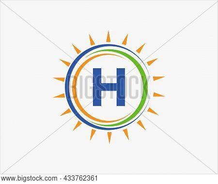 Sun Solar Energy Logo On Letter H Template. H Letter Solar Logo Design. Solar Panel Farm Electric Fa