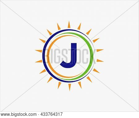 Sun Solar Energy Logo On Letter J Template. J Letter Solar Logo Design. Solar Panel Farm Electric Fa